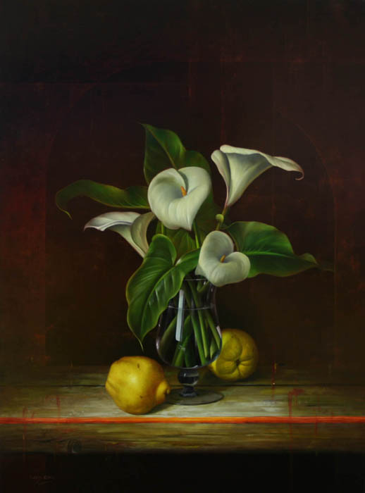Still Life With White Lilies In Glass And Quince