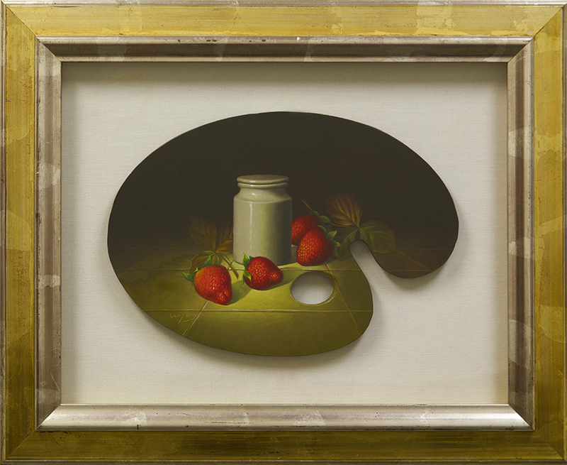 Palette Painting Strawberries And Jar