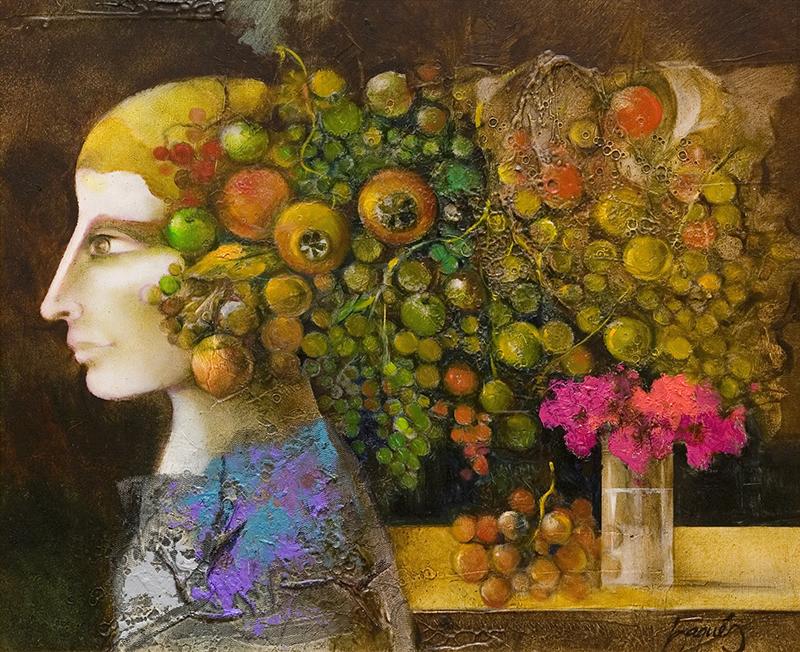 Perfil con frutas y flores