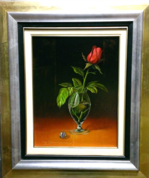 Rose In Glass With Marble