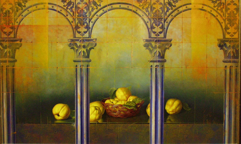 Still Life With Architectural Columns And Pear- SA DE254- DP
