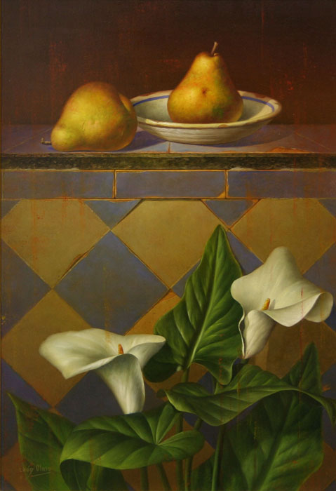 Still Life With White Lilies And Two Pears
