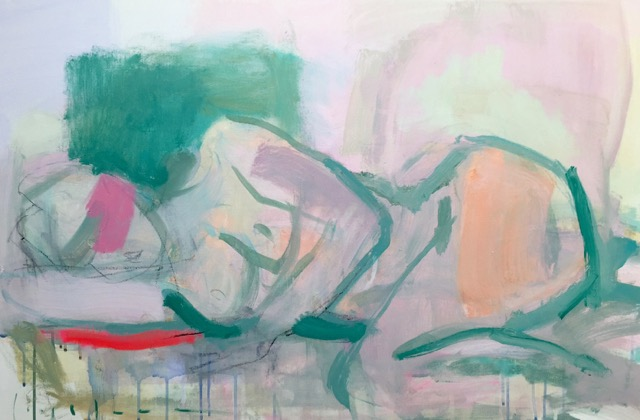 reclining, pink and green