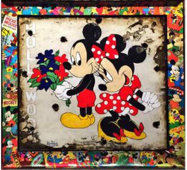 Mickey and Minnie with Walt Disney Signature
