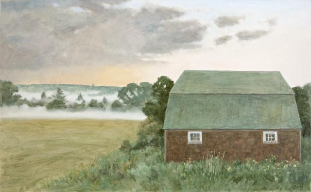 Barn and Evening Mist