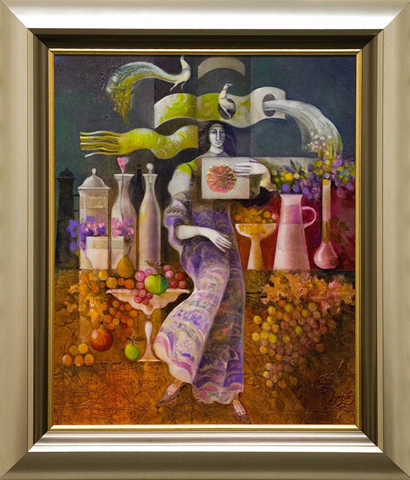 Dama entre ceramicas y frutas - DP