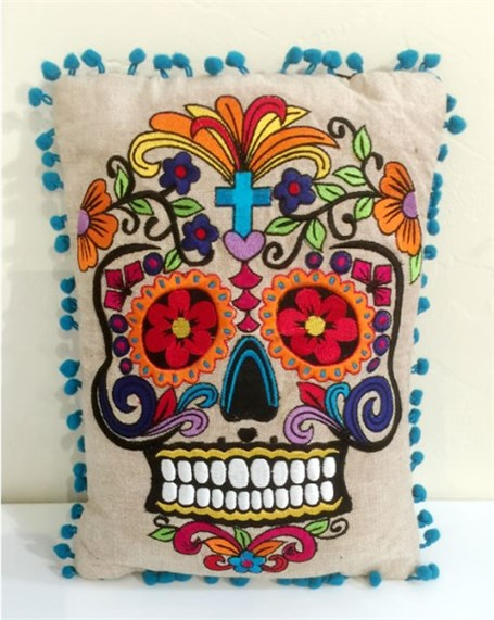 Rectangular Embroidered Skull Pillow with Turquoise Pom Border - Assorted Colors