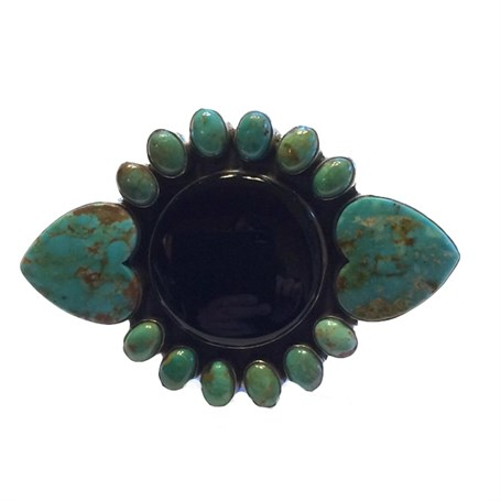 Ring - Western Statement Onyx Turquoise Adj.