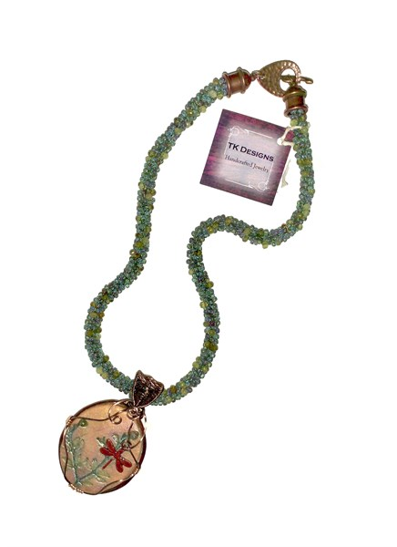 Necklace - Handwoven Antiqued Copper With Handmade Ceramic And Natural Desert Creosote Tecture