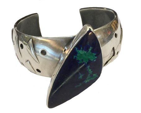 Bracelet - Sterling Silver -  Boomerang - Sterling Silver Cuff - Azurite & Malachite - RBT-2