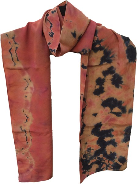 Scarf-Rust Reverse Shibori Crepe #118