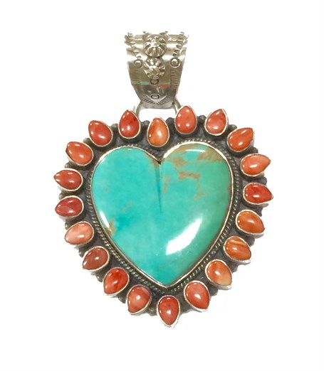 Pendant - Turquoise Heart with Spiny Oyster Surround