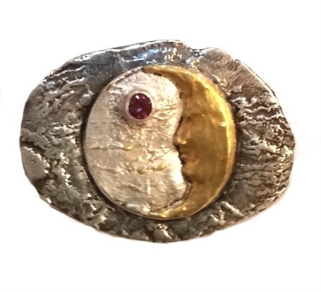 Pendant - Man in the Moon - With 24K Gold, Fine Silver & Garnet  #2420