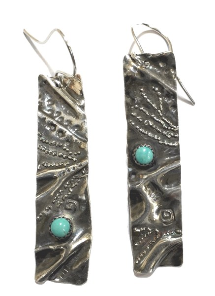 Earrings - Sterling Silver - Fold Formed Rectangles With Turquoise Cabochon 2526