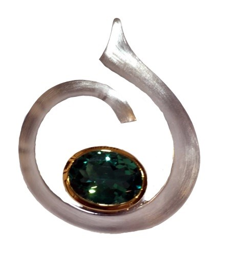 Pendant - Brushed Sterling Silver Swirl with 14kt Gold & Green Quartz