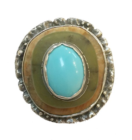 Ring - Stacked Stone - Fossil Walrus Ivory, Adventurine, Turquoise With Sterling & Fine Silver #2517