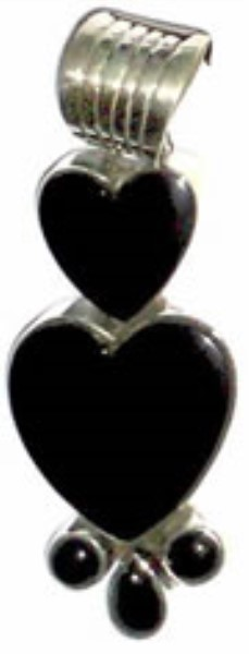 Pendant - Sterling Silver & Double Onyx Hearts  DD439