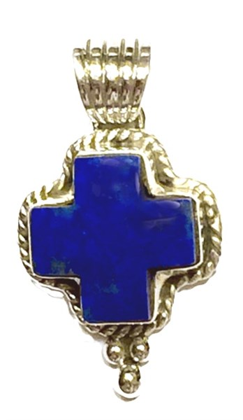 Pendant - Small Lapis Cross w/Sterling Silver Dots