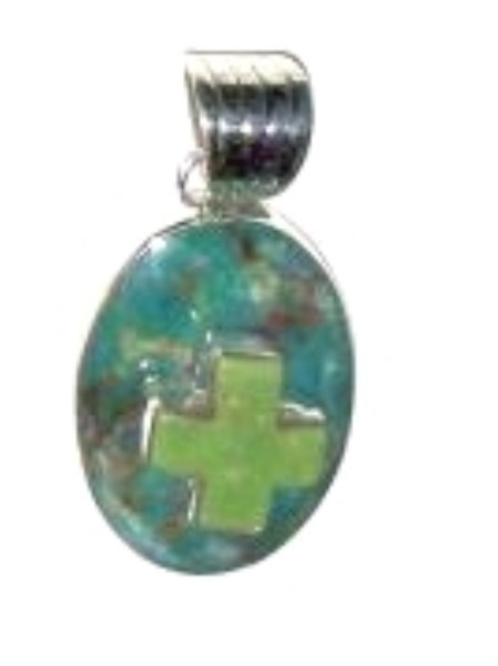 Pendant - Sterling Silver & Turquoise with Turquoise Cross