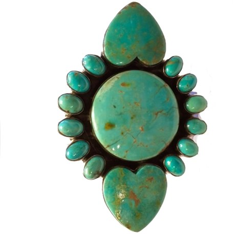 Ring - Western Statement Turquoise & Sterling Silver Adj.
