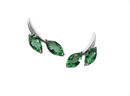 Earrings - Sterling Silver and Green Quartz Cactus 7871