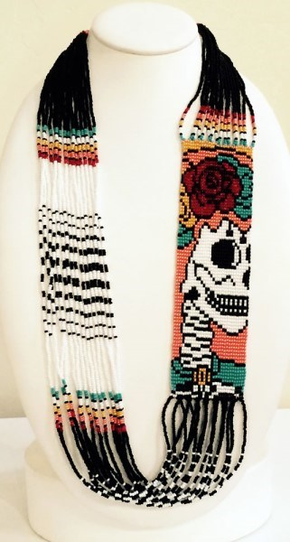 Necklace - 16 Strand Glass Seed Bead, Day of the Dead Catrina