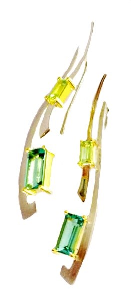 Earrings - Emerald Cut Green & Lemon Quartz with 14kt in .925 Silver