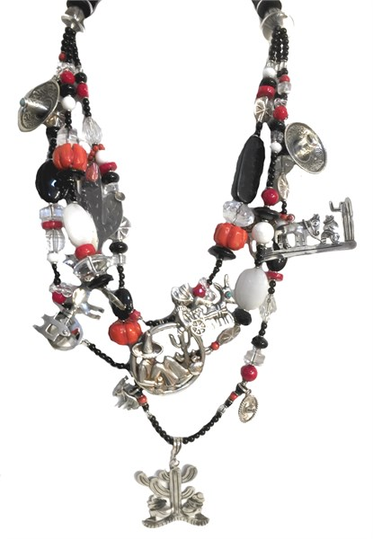 KY - 1230 Black onyx, coral, silver hombres, donkey, charms