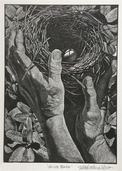 Give Back - Wood Engraving