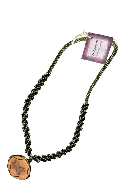 Necklace - Handwoven Antiqued Copper With Handcrafted Ceramic Horse Pendant