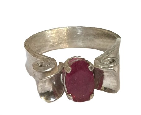 Ring - Volute & Anticlastice With Pink Tourmaline Size 7.5  56
