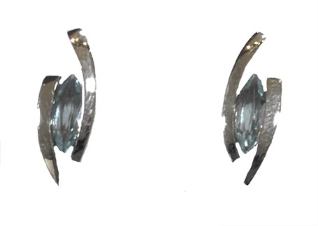 Earrings - Sterling Silver & Marquis Cut Blue Topaz - Floating JVE5100BT