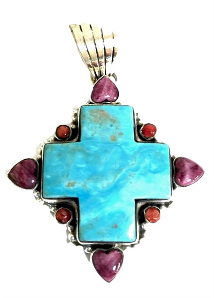 Pendant - Turquoise Cross w/Spiny Oyster