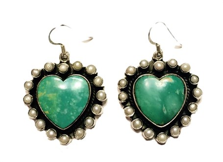 Earrings - Turquoise Heart with Pearl Surround