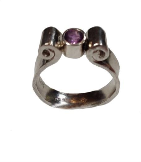 Ring - Amethyst & Silver Size 7  #709