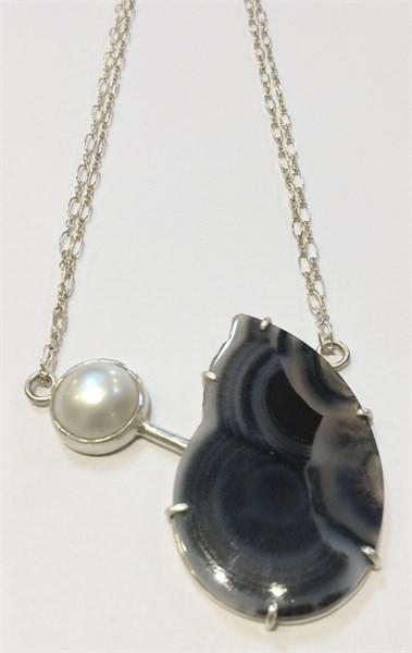 Necklace - Aphrodite - Silver & Agate  MS-2