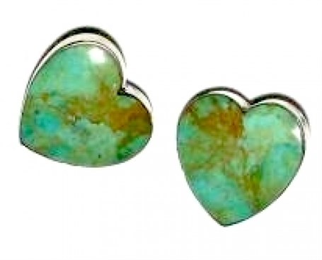 Earrings - Sterling Silver Post Hearts & Turquoise  1583