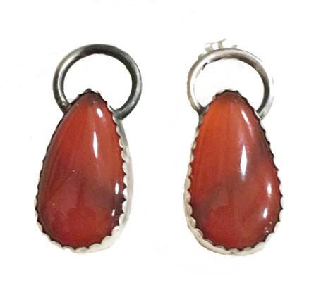 Earrings - Sterling Silver & Set With Carnelian DD114