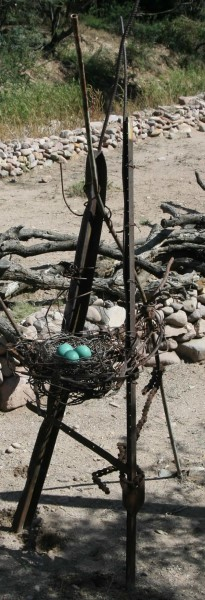 Nest - Large Tripod With Blue Green Ceramic Eggs