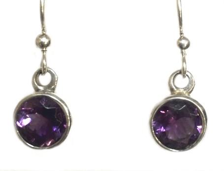 Earrings - Sterling Silver Dangles Amethyst E-696