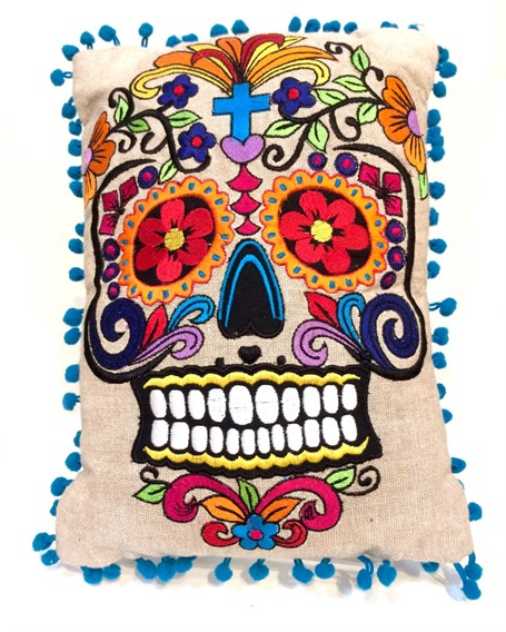 Pillow -  Embroidered Sugar Skull on Linen with Pom Pom Border