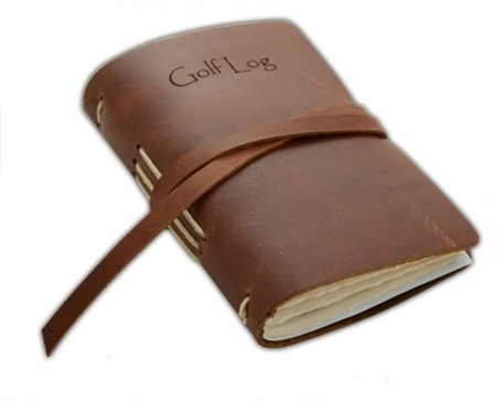 Leather Golf Log with Wrap - Brown  RU11