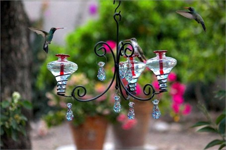 Hummingbird Feeder - 12oz Chandelier 3 (1 with Aqua or 1 with Clear & 1 with Blue Glass) with Dangles