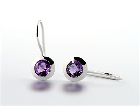 Earrings - Bezel Set Amethyst Dangle E3185AM