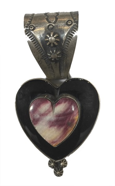 Pendant - Sterling Silver Onyx Heart & Spiny Oyster Heart 1590