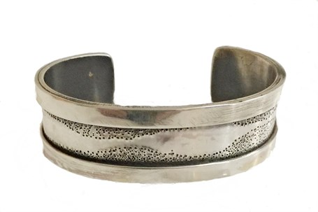 Bracelet - Sterling Silver With Overlay Edges & Hand Stamped  DD113