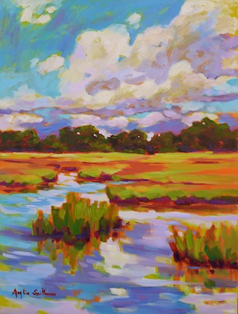 Marshland with Cumulus Skies