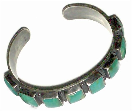 Bracelet - Cuff, Turquoise Squares  set in Sterling Silver