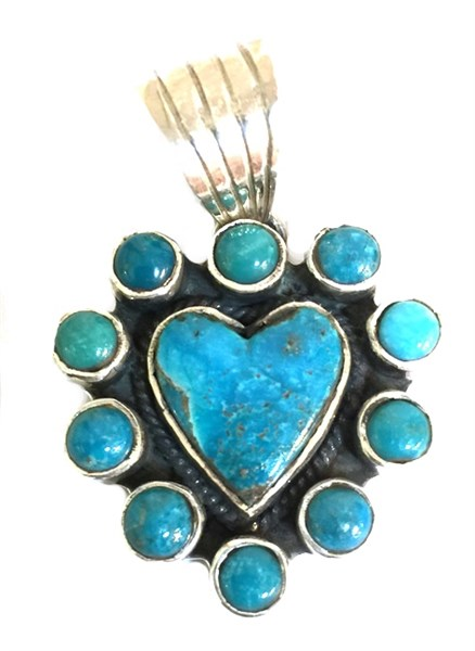 Pendant - Turquoise Heart w/Turquoise Surround