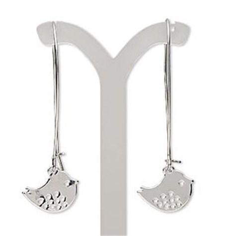 Earrings - Silver Tone Sweet Bird